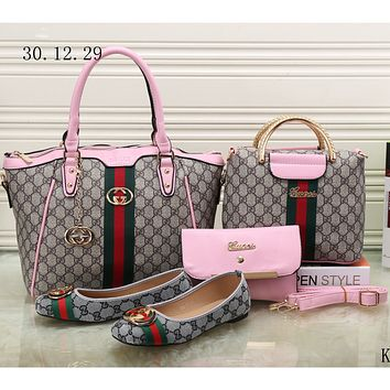 GUCCI new female counter models stylish four-piece Messenger bag F-KSPJ-BBDL pink