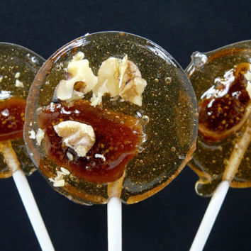 Armagnac Fig & Walnuts Lollipop - Gourmet candy - Upscale Weddings and Event Favor