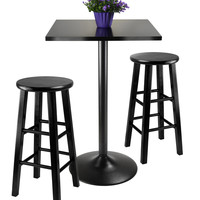 3Pc Counter Height Dining Set, Black Square Table Top & Metal Legs, 2 Wood Stools