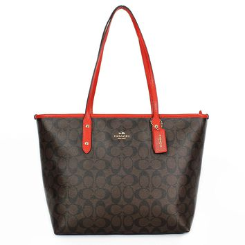 Coach Signature City Zip Tote Bag Handbag (Brown / Carmine)