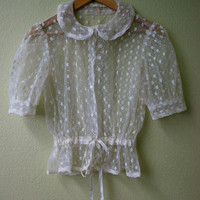 Sweet Cream Floral Lace Blouse with Peter Pan Collar Small Medium