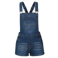 LE3NO Womens Classic Casual Denim Overall Shorts with Pockets