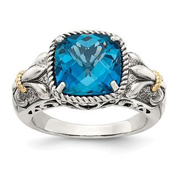 Sterling Silver w/ 14k Gold Accents Cushion London Blue Topaz Fleur-de-lis Ring