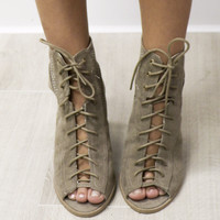Falling for You Taupe Suede Lace Up Booties