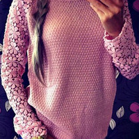 Pink Cut Out Lace Knitted Sweater
