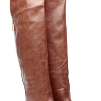 Chestnut Faux Leather Thigh High Rider Gal Boots