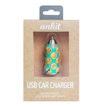 Teal Emoji USB Car Charger