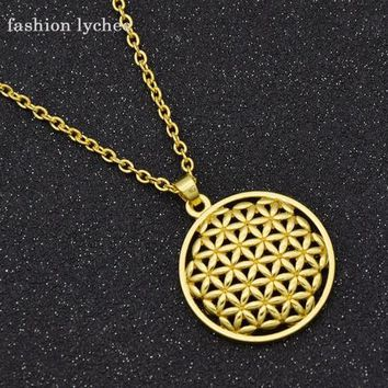 fashion lychee Tai Ji Rune Supernatural Hollowed Flower of Life Gold Silver Color Pendant Necklace 7 Styles Geometric Necklace