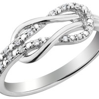 Diamond Love Knot Promise Ring 1/10 Carat (ctw) in Sterling Silver