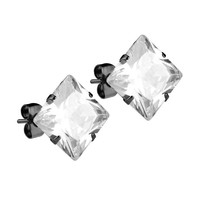Mister Square Stud Earrings - Black