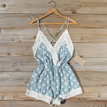 Flower Child Lace Romper in Sage