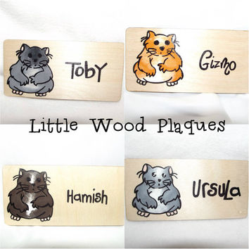 Handmade wooden personalised *Hamster* cage sign/plaque
