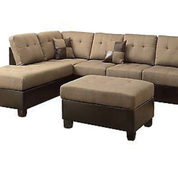 3-Piece Reversible Sectional Sofa with Ottoman Tan New Free Ship