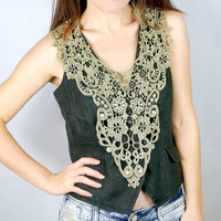 large green lace bib oversized necklace - Lace shrug Black shoulder piece Embroidery venise lace Body jewelry tattoo shoulder accessory