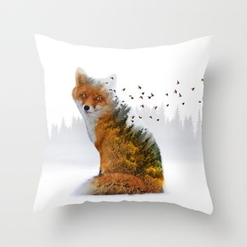 Wild I Shall Stay | Fox Throw Pillow by Soaring Anchor Designs | Society6