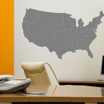 ik2250 Wall Decal Sticker USA Map states living room bedroom office