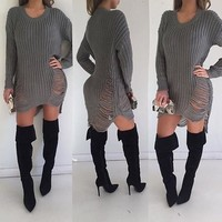 Grey Plain Hollow-out Irregular High-Low Round Neck Casual Sassy Knit Oversized Dress Sweater