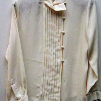 Vintage EVAN-PICONE Cream Polyester Silk Blouse with Side Covered Button Tucked Panel-Long Sleeve Covered Button Cuffs