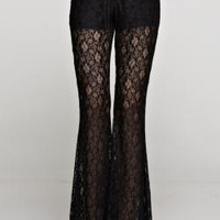 See Through Lace Flare Pants