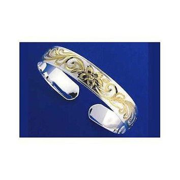 SILVER 925 HAWAIIAN CUFF BANGLE BRACELET PLUMERIA SCROLL SMOOTH EDGE 8MM 2 TONE
