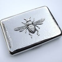 Bee Cigarette Case Small Size Silver Plated Metal Gothic Victorian Steampunk Accessories Women's Gifts