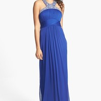 Xscape Embellished Neck Pleated Gown