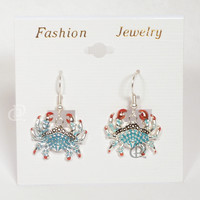 Blue Shell Crab Earrings with Red Tip Claws Silver Tone Wires