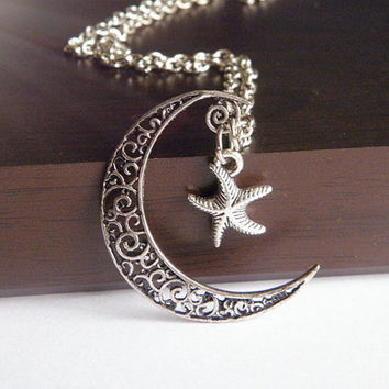 antique silver moon and star galaxy cosmic necklace jewelry