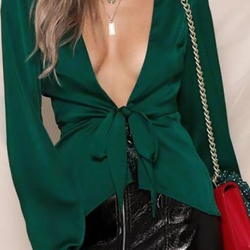Smooth As Silk Long Bell Sleeve Satin Plunge V Neck Tie Front Blouse Top - 2 Colors Available