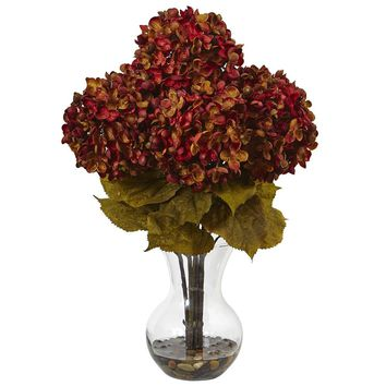 Artificial Flowers -Hydrangea With Vase Flower Arrangement No2 Silk Plant