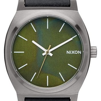 Nixon 'The Time Teller' Leather Strap Watch, 37mm - Black/ Green Oxide