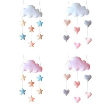 Nordic Lovely Cloud Heart Baby Nursery Fabric Tent Wall Hanging Decor Shower Gift White Pink Photo Props Bed Hanging Toys