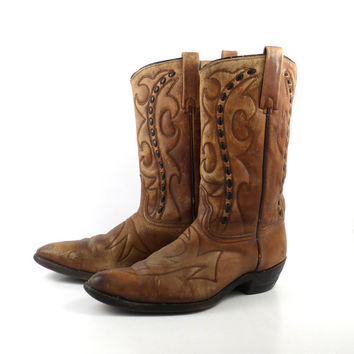 Distressed Cowboy Boots Vintage 1970s Durango West Leather Men's 10 1/2 D