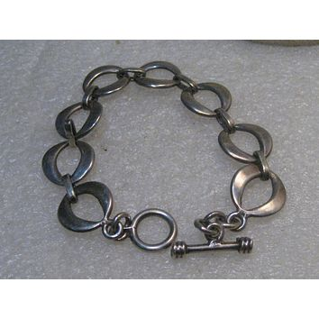 "Sterling Silver 8"" Bracelet, Toggle Clasp, Open Links, 22.17 grams"