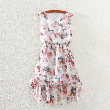 Women's Fashion Print Chiffon Sleeveless Vest Irregular Skirt One Piece Dress [4919368708]