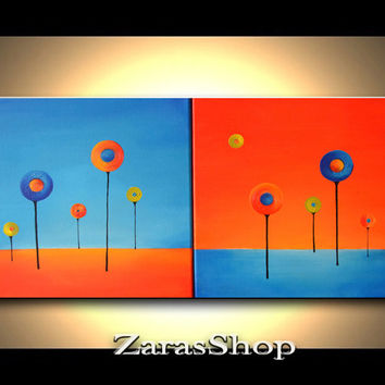 Spring abstract art lollipop trees acrylic painting colorful artwork fun bright kids room wall decor perfect gift for children at ZarasShop