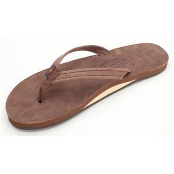 Women's Single Layer Premier Leather Flip Flop with Arch Support and a Narrow Strap in Expresso