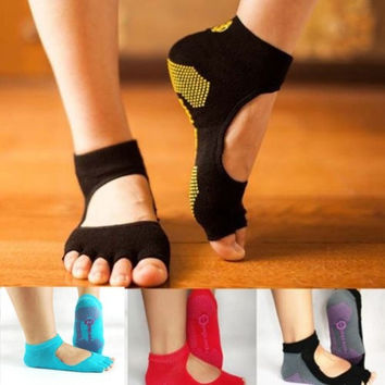 Women Female Comfortable Half Toe Ankle Grip Durable Yoga Sport Socks Five Finger No-Slip = 5617238273