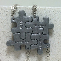 Puzzle Pieces Personalized 4 Necklaces Silver Polymer clay Made to order