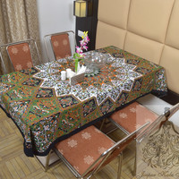 Indian Cotton Table Cloth Black-Green Color Star Print Table Cover Tapestry Wall Hanging TC11