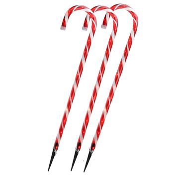 """Set of 3 Lighted  Candy Cane Christmas Outdoor Decorations 28"""""""