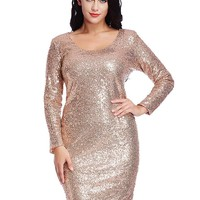 Plus Size Short Long Sleeve Sequins Dress