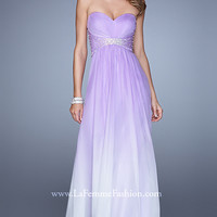 Strapless Sweetheart Ombre Chiffon Floor Length Gown by La Femme