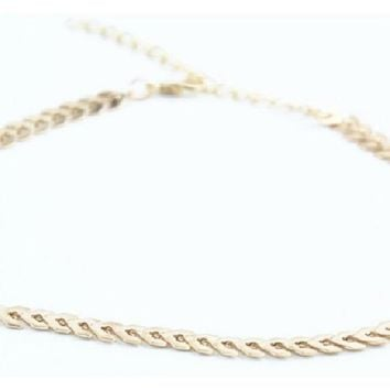 Simple Fashion Gold Color Choker Bib Bar Necklace for Women