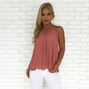 Ruffle My Buttons Tank in Mauve