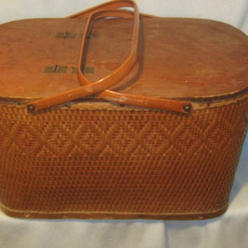 Vintage 1950s RED MAN Woven WIcker Large Picnic Basket - with Table