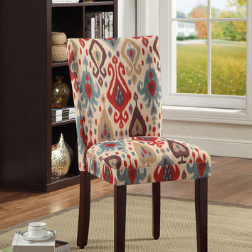 Ikat Patterned Parsons Chair (Set of 2)