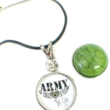 "Army Wife Snap on 18"" Leather Rope Diamond Pendant Necklace W/ Extra 18MM - 20MM Snap Charm"