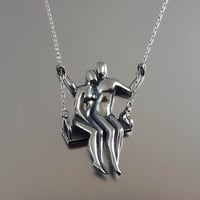 Ready to ship  TWO ON A SWING silver pendant by WingedLion on Etsy