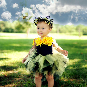 Tutu dress, girls tutu, bumble bee tutu dress, flower girl dress, black and yellow tutu, high low tutu, bustle tutu, halloween costume